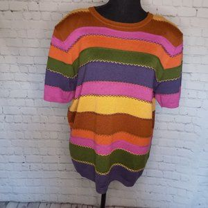 Alfred Dunner pink purple navy  pullover sweater